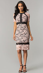 Image of blossom pink lace wedding-guest dress with black trim. Style: JX-1ZWD268Q Detail Image 1
