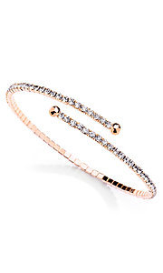 Rose Gold Coil Bracelet with Rhinestones