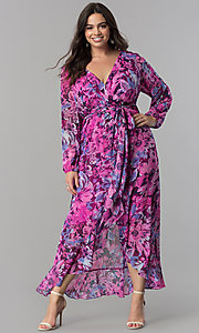 Floral-Print Maxi-Length Long Sleeve Party Dress