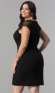 Image of short plus-size black party dress with cap sleeves. Style: SG-DWBBY1138 Back Image