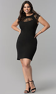 Image of short plus-size black party dress with cap sleeves. Style: SG-DWBBY1138 Detail Image 1