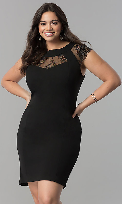 Image of short plus-size black party dress with cap sleeves. Style: SG-DWBBY1138 Front Image