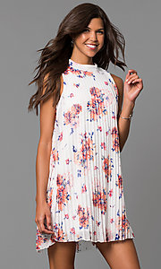 Short Pleated Shift Party Dress with Floral Print