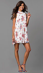 Image of short pleated shift party dress with floral print. Style: AS-i709627B07 Detail Image 1