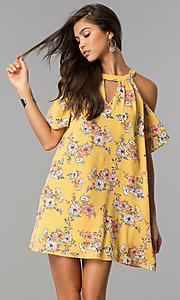 Cold Shoulder Short Floral Print Shift Party Dress
