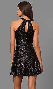 Image of short sequined a-line homecoming dress with high neck. Style: MCR-1954 Back Image