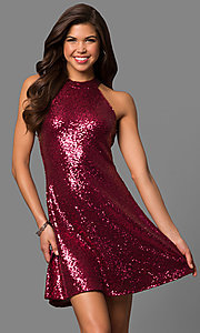 Image of short sequined a-line homecoming dress with high neck. Style: MCR-1954 Front Image