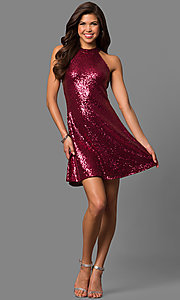 Image of short sequined a-line homecoming dress with high neck. Style: MCR-1954 Detail Image 1