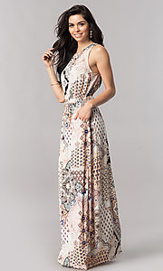 Long Print Casual Maxi Dress with Keyhole Cut-Out Back