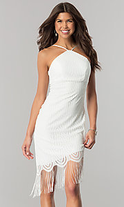 Short Ivory Party Dress with Asymmetrical Fringed Hem