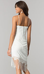 Image of short ivory party dress with asymmetrical fringed hem. Style: EM-EZA-2887-120 Back Image