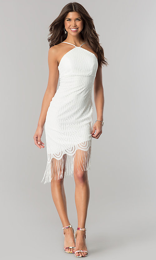 Image of short ivory party dress with asymmetrical fringed hem. Style: EM-EZA-2887-120 Detail Image 1