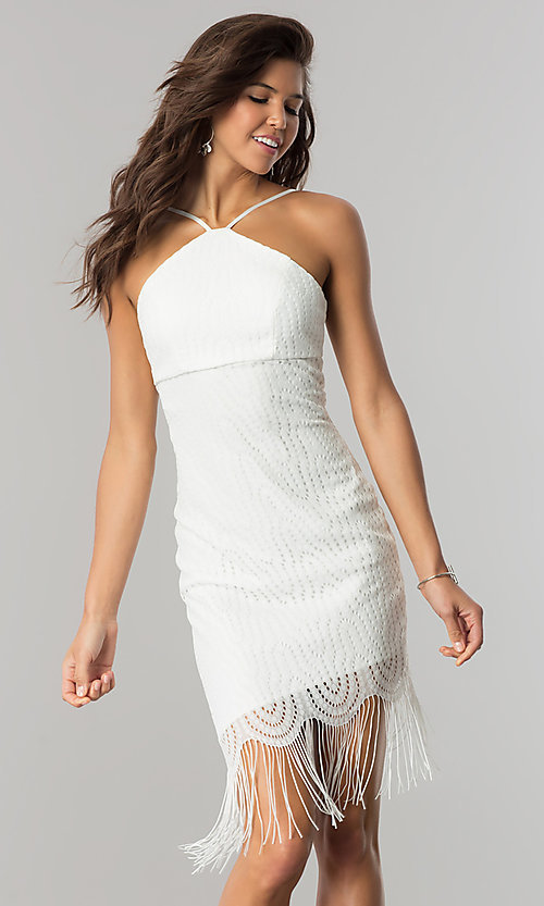 Image of short ivory party dress with asymmetrical fringed hem. Style: EM-EZA-2887-120 Detail Image 2