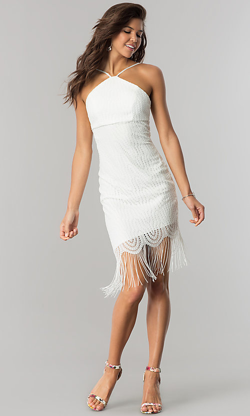 Image of short ivory party dress with asymmetrical fringed hem. Style: EM-EZA-2887-120 Detail Image 3