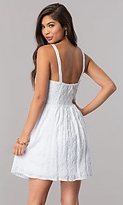 Image of short white sleeveless party dress with bow. Style: EM-FBH-2945-100 Back Image