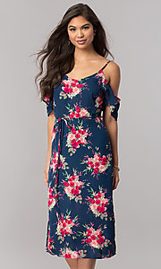 Navy Casual Cruise Midi Dress with Pink Floral Print