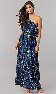 One-Shoulder Long Print Casual Cruise Dress