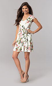 Image of sleeved short casual dress with ivory and pink print. Style: EM-FGL-3204-142 Detail Image 1