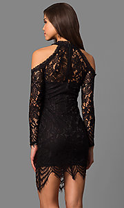 Image of short long-sleeve cold-shoulder party dress in lace. Style: LP-24610 Back Image