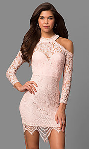 Image of short long-sleeve cold-shoulder party dress in lace. Style: LP-24610 Front Image