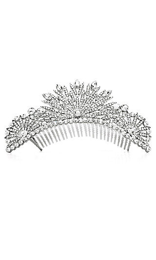Fanned Silver and Clear Crystal Tiara Comb