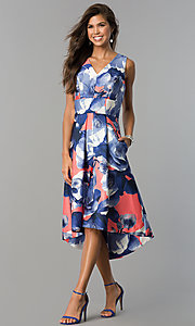 Floral Print V-Neck High-Low Party Dress