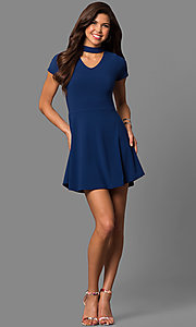 Image of short-sleeve choker-collar party dress. Style: CH-2869S Detail Image 1