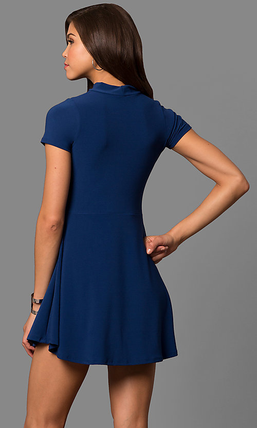 Image of short-sleeve choker-collar party dress. Style: CH-2869S Back Image