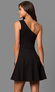 Image of short one-shoulder day-to-night party dress. Style: CH-2911 Back Image