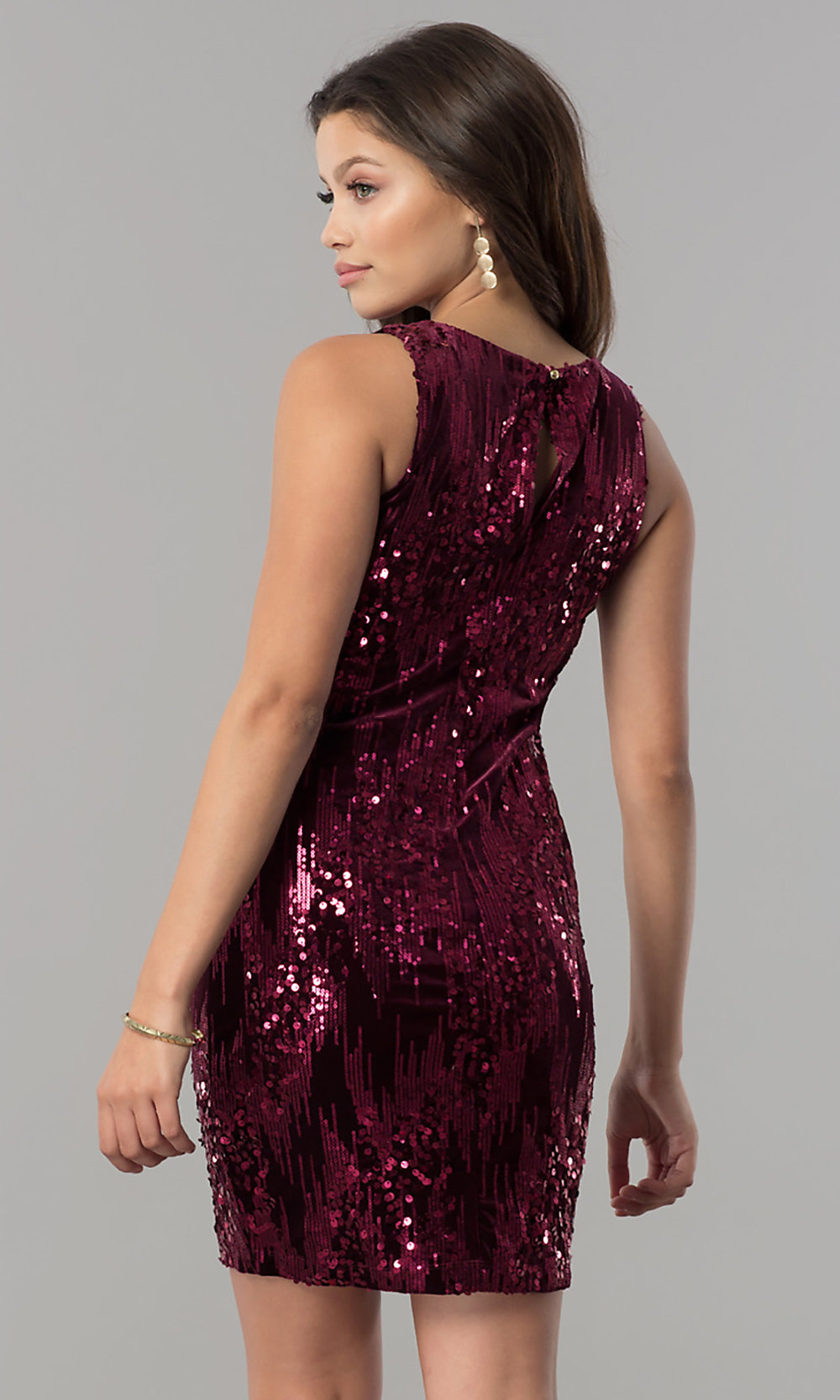 wine red sequin short homecoming dress  promgirl