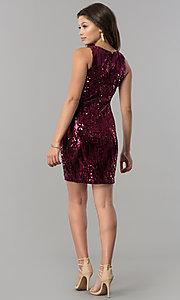 Image of short wine red sequin homecoming dress. Style: EM-DHU-3217-550 Detail Image 2