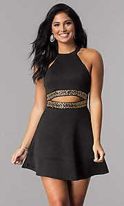 Image of short black homecoming dress with gold-beaded waist. Style: EM-EVT-1003-030 Front Image