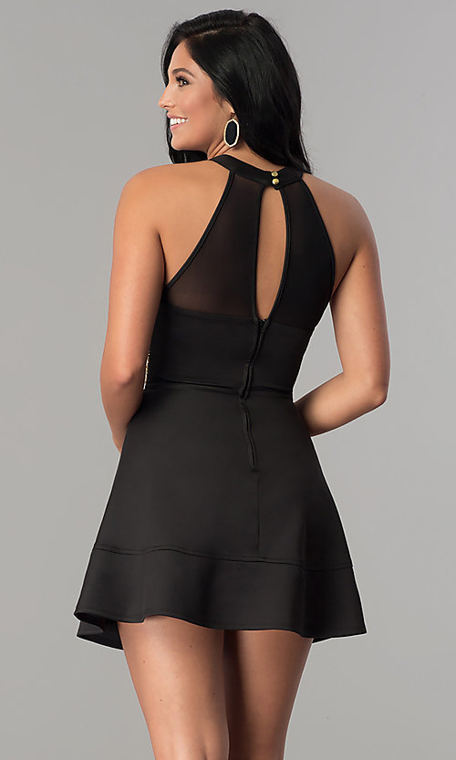 Image of short black homecoming dress with gold-beaded waist. Style: EM-EVT-1003-030 Back Image