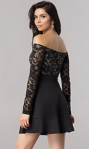 Image of short off-the-shoulder homecoming dress with sleeves. Style: EM-FJD-1446-018 Back Image