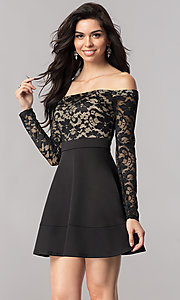 Image of short off-the-shoulder homecoming dress with sleeves. Style: EM-FJD-1446-018 Front Image