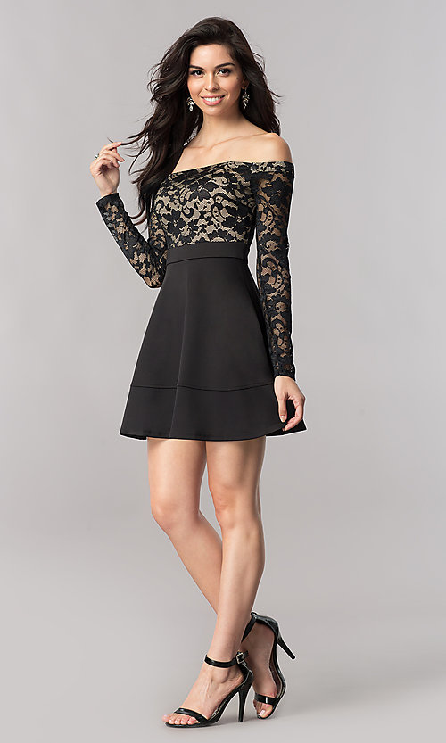 Image of short off-the-shoulder homecoming dress with sleeves. Style: EM-FJD-1446-018 Detail Image 1