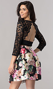 Image of two-piece short homecoming dress with illusion lace. Style: EM-FJO-3227-002 Back Image