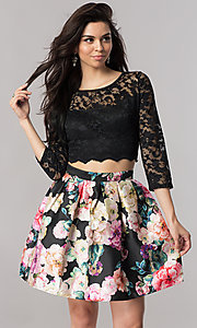 Image of two-piece short homecoming dress with illusion lace. Style: EM-FJO-3227-002 Front Image