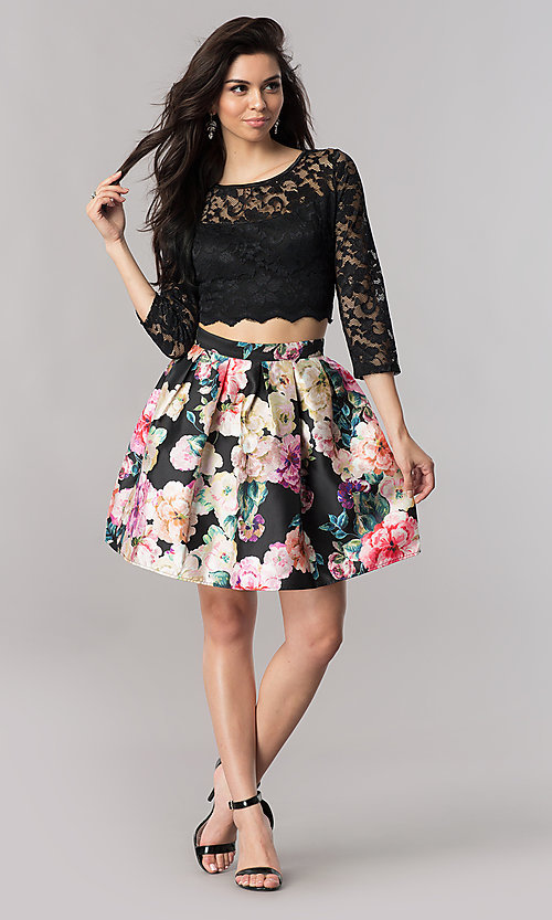 Image of two-piece short homecoming dress with illusion lace. Style: EM-FJO-3227-002 Detail Image 1