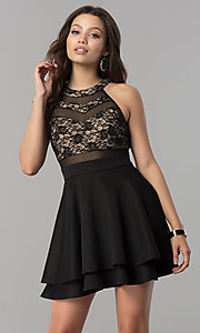 Image of short lace-bodice homecoming dress in black and nude. Style: EM-FLD-1000-018 Front Image