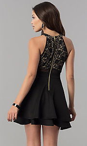Image of short lace-bodice homecoming dress in black and nude. Style: EM-FLD-1000-018 Back Image
