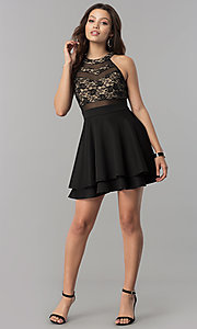 Image of short lace-bodice homecoming dress in black and nude. Style: EM-FLD-1000-018 Detail Image 1