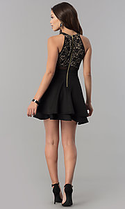 Image of short lace-bodice homecoming dress in black and nude. Style: EM-FLD-1000-018 Detail Image 2