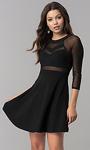 Image of short black a-line homecoming dress with sleeves.  Style: EM-FLQ-1027-001 Front Image