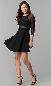 Image of short black a-line homecoming dress with sleeves.  Style: EM-FLQ-1027-001 Detail Image 1