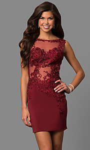 Image of short lace-illusion short party dress from JVNX by Jovani. Style: JO-JVNX57150 Detail Image 2