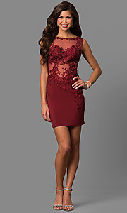 Image of short lace-illusion short party dress from JVNX by Jovani. Style: JO-JVNX57150 Detail Image 3
