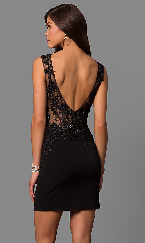 Image of short lace-illusion short party dress from JVNX by Jovani. Style: JO-JVNX57150 Back Image
