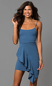 Image of short bodycon party dress with asymmetrical ruffle. Style: BLU-BD8456 Detail Image 3