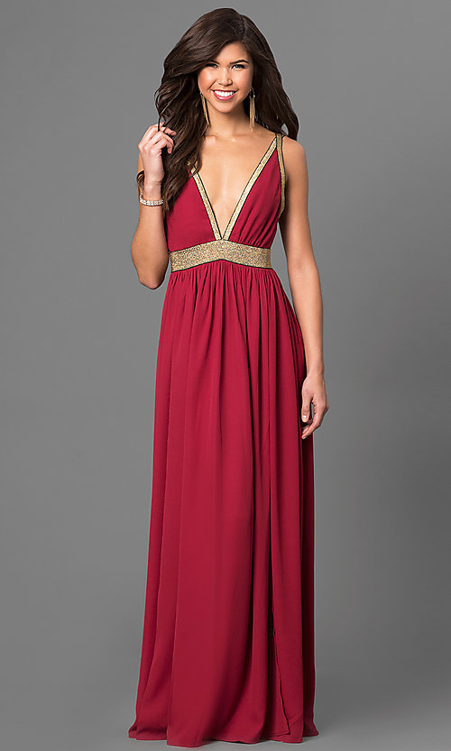 Image of long burgundy red chiffon prom dress with slits. Style: CQ-4182DW-v Front Image